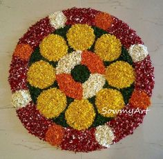 Rangoli Designs Flower, Rangoli Patterns, Rangoli Designs Diwali, Rangoli Ideas, Diwali Rangoli, Flower Rangoli, Flower Mandala, Flower Petals, Diy Flowers