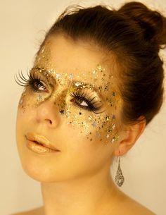 gold mask makeup for a masquerade