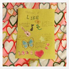 Things I like-Construction paper, color pencils and collage (8yrs. old)