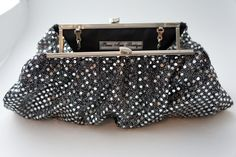 Gorgeous Vintage Inspired, Black and Silver Sequin Evening or Formal Clutch. $52.00, via Etsy.