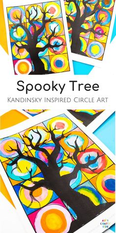 Arty Crafty Kids - Spooky Tree Kandinsky Inspired Circle Art - A fun Halloween twist on a popular art project #halloweenart #artforkids