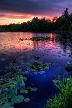 Photograph Black Lake, Red Sky by Joshua Cramer on 500px