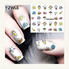 YZWLE  1 Sheet DIY Designer Water Transfer Nails Art Sticker / Nail Water Decals / Nail Stickers Accessories (YZW-8554)