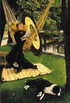 The Hammock, James Tissot. French (1836 - 1902) With surely one of the finest collies in Art...