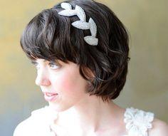 Beads and Rhinestones :: Beaded Leaves Headband - Poppyhearts | handmade fashionable fascinators, headbands, corsages
