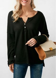 Button Neck Long Sleeve T Shirt   modlily.com - USD  28.89 Blouse Outfit, 8f5544c87b