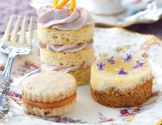 Garnished with a drizzle of honey and fresh lavender blossoms, these Goat Cheese, Lavender, and Honey Mini Cheesecakes are delicious teatime bites.