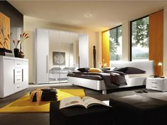 Black White Grey and Yellow Bedroom