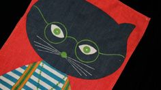 60s Mod Cat Print Linen Tea Towel Wall Hanging by SycamoreVintage, $25.00