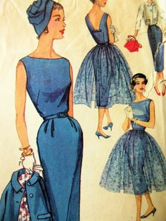 Simplicity 2370 Vintage Pattern Sleeveless Sheath Dress with Overlay Moda Vintage, Moda Retro, 1950s Dress Patterns, Dress Making Patterns, Vintage Sewing Patterns, Vestidos Vintage, Vintage Dresses, Vintage Outfits, 1940s Fashion