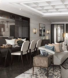 CGI of the apartment dining area from our new multi unit project in Marylebone #sophiepatersoninteriors #london #luxuryinteriors #livingroom #diningroom #homedecor