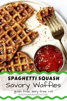 Two main ingredients, gluten free, flourless, low carb, and an easy way to repurpose leftovers to reduce food waste. An endless list of reasons to love these spaghetti squash savory waffles but the main reason is because they are absolutely DELICIOUS! Try for yourself to see. #savorywaffles #spaghettisquash #spaghettisquashwaffles #spaghettisquashfritters Dairy Free Appetizers, Dairy Free Snacks, Healthy Gluten Free Recipes, Quick Easy Healthy Meals, Quick Snacks, Savory Waffles, Sweet Potato Protein, Food Waste, Spaghetti Squash