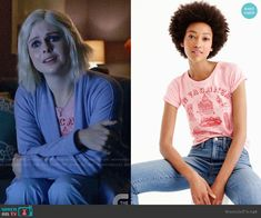 Liv's pink In Vacanza graphic tee on iZombie Comic Movies, Movie Tv, Izombie Tv Series, Fashion Tv, Fashion Outfits, Rose Mciver, Dc Comics, Graphic Tees, Cosplay