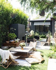 Backyard patio and fireplace