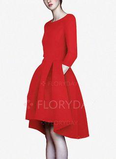 Vestidos - $51.04 - Vestidos Mezclas de algodón Llanura Asimétrico Manga de 3/4 (1955120201)