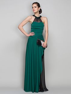 Formal Evening/Military Ball Dress - Dark Green Plus Sizes Sheath/Column Halter Floor-length Jersey/Chiffon - USD $ 99.99