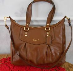 Coach Ashley Saddle Brown Leather Shoulder Bag Purse NWT F20104