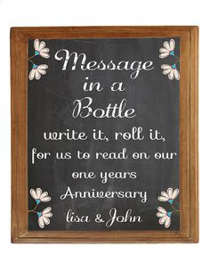 Wedding Guest book alternative - message in a bottle - to open in one year - download or printed option.