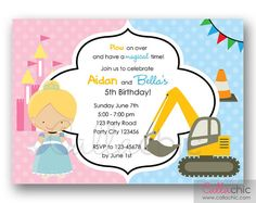 Cinderella and Construction Truck Birthday Invitation PRINTABLE - Twin / Joint / Split Party - Boy Girl - SIbling Birthday