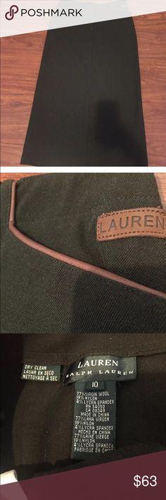 "Ralph Lauren Modest Virgin Wool Mix Skirt Excellent NEW without tags Lauren Ralph Lauren below knee length skirt. 77% Virgin Wool 19% Nylon 4% Lycra spandex  Size 10. Leather look trim pockets. Slit in back. Modest.  • Waist: 30"" • Hips: 40"" • Length: 35"" • Front pockets: 5"" opening  • 5 belt loops  • Slit: 16"" Lauren Ralph Lauren Skirts"