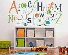 More alphabet ideas, great for a little boy's room. Love the color pallet.