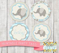 Blue Elephant Baby Shower Printable Circle Tags PDF by DorkyPrints