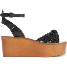 Étoile Isabel Marant - Zia Paneled Woven, Textured And Snake-effect... (235 CAD) ❤ liked on Polyvore featuring shoes, sandals, black, black wedge shoes, strappy sandals, wedge sandals, black wedge sandals and platform sandals