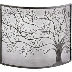 curved fireplace screen with tree design - Google Search