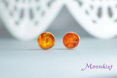 Golden Amber Stud Earrings in Sterling Silver Amber Gemstone