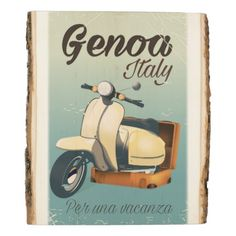 #vintage - #Genoa Italy For a vacation vintage poster Wood Panel