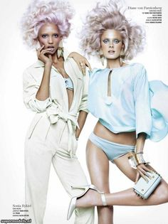 "Cora Emmanuel Constance Jablonski by Sharif Hamza, ""Double Vision,"" V Magazine Spring 2013 4 Diane von Furstenberg / Marie Antoinette makeup. I loves! V Magazine, Magazine Spreads, Editorial Photography, Fashion Photography, Photography Ideas, Bette Franke, Catherine Mcneil, Double Vision, Mode Editorials"