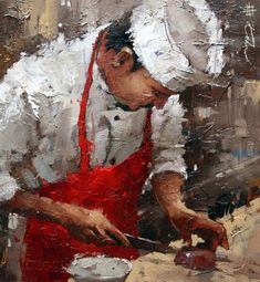 Impressionist artwork by Andre Kohn and other internationally recognized artists. Figurative oil paintings, drawings, sculpture and oversized paintings. Kitchen Art, Figure Painting, Beautiful Paintings, Artist At Work, Art World, Creative Art, Illustration Art, Fine Art, Chefs