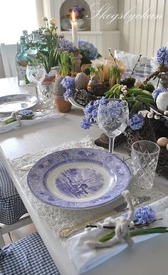 A Blue and white tablescape is timeless.