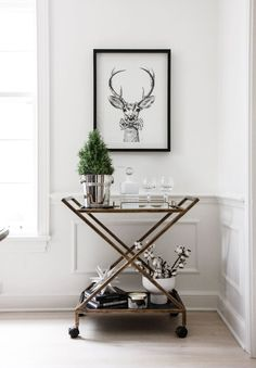 holiday decor bar cart // anne sage
