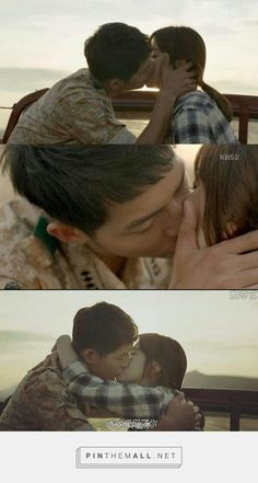 Descendants Of The Sun‬ Ep9 when Kang Mo Yeon receive love Captain Yoo Si Jin and then they were kissing