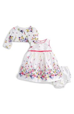 Pippa & Julie Floral Print Sleeveless Dress & Sweater Set (Baby Girls) available at #Nordstrom