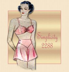 lingerie patterns | Vintage Simplicity Glam Lingerie Pattern 2288 Pin Up Style Bra and Tap ...