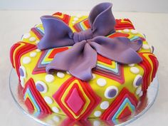 colorful cake by katrina Holiday Cakes, Holiday Desserts, Pretty Cakes, Cute Cakes, Cake Icing, Cupcake Cakes, Dream Cake, Cake Board, Edible Cake
