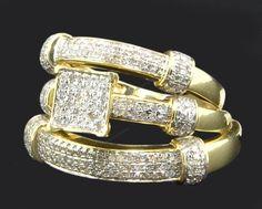 14K Yellow Gold Men Women HisHer Diamond Engagement Bridal Wedding Trio Ring Set #br925silverczjewelry