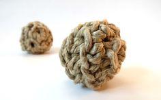 Natural Hemp Cat Balls- 100% Certified Organic Catnip Jingle Toys. $6.00, via Etsy.