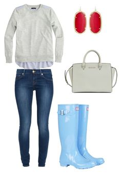 """""""Hunter Boots"""" by hodgesgirl116 ❤ liked on Polyvore featuring J.Crew, 7 For All Mankind, Hunter, Kendra Scott and Michael Kors"""