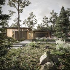 Revit Architecture, Forest House, Modern House Design, Wonderful Places, Cottage, Construction, House Styles, Samana, Behance