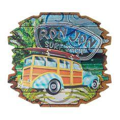 Ron Jon Decor Foil Sheen Magnet with woody car design. California Logo, Beach Souvenirs, Down Arrow, Custom Surfboards, Ron Jon Surf Shop, Printed Magnets, Gift Card Sale, Car Themes, Surf Outfit
