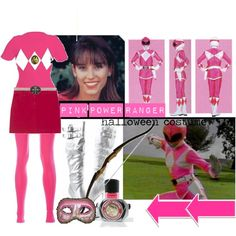 Love it!    pink power ranger halloween costume, created by kalet on Polyvore
