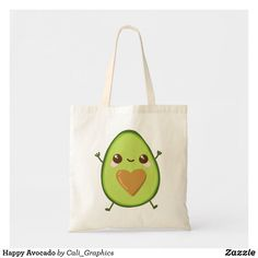 Shop Happy Avocado Tote Bag created by Cali_Graphics. Personalize it with photos & text or purchase as is! Budget Fashion, Diy Embroidery, Dog Bowtie, Design Your Own, Avocado, Canvas Tote Bags, Gifts For Dad, Cotton Canvas, Art Pieces