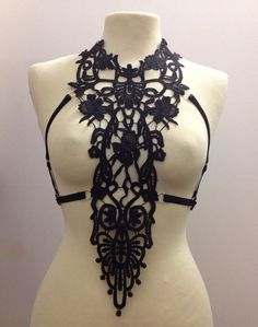 Lace harness cage bra (Size Made to order) on Etsy, £30.00