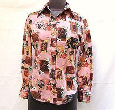 Vintage Pink Blouse San Francisco Shirt Works Photos Flowers Love Valentine SZ S