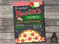 Check out this item on Etsy https://www.etsy.com/listing/280565460/pizzeria-pizza-party-invitation-thank