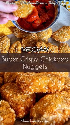 If you're looking for super crunchy and deliciously tasty vegan chicken nuggets, then these Super Crispy Chickpea Nuggets are for you. Vegetarian Nuggets, Vegetarian Snacks, Healthy Vegan Snacks, Vegan Appetizers, Appetizers Superbowl, Healthy Chicken Nuggets, Veggie Nuggets, Vegan Chickpea Recipes, Vegan Dinner Recipes