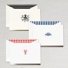 Coastal Notes Assortment: This sea creature assortment is perfect for sending a little message from the Chesapeake Bay or an invitation to your beach home. Hand engraved in fine detail, you get 3 each of 3 designs - all with matching lined envelopes. Blank inside, each note provides plenty of room for your hand written words. This assortment contains our lobster, crab & octopus designs.